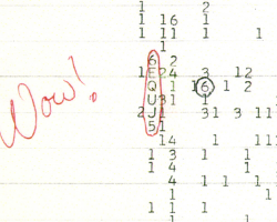 Numbers on paper, circled in red. Handwritten word: Wow!