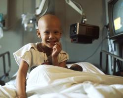 Young girl receiving chemotherapy