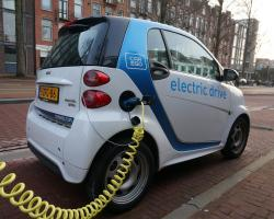 An electric car charging in Amsterdam