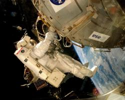 Astronaut on a spacewalk at the ISS