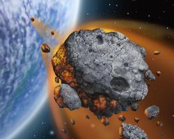 Artist's impression of asteroid headed for Earth