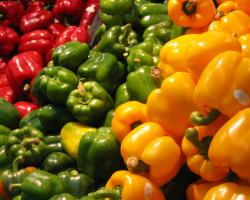 Red, green, and yellow bell peppers