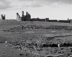Black and white photo of a castle