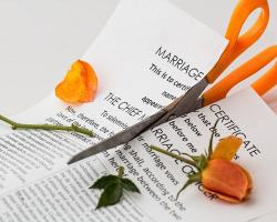 Marriage certificate cut up with scissors. Divorce.