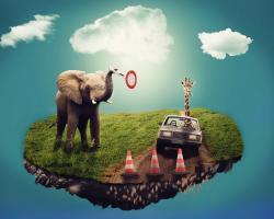 Bizarre dream scene. Elephant, giraffe, car, pylons.