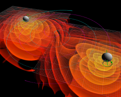 Two merging black holes emit gravitational waves