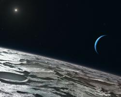 The view of the sun from the surface of Triton (artist's impression).
