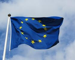 European Union flag blue and yellow stars