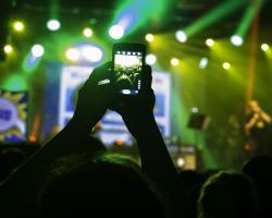 iPhone filming a concert
