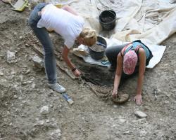 Excavations of human remains at Vlasac, Serbia.