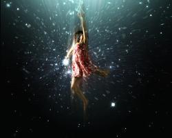 Artist's impression of girl flying