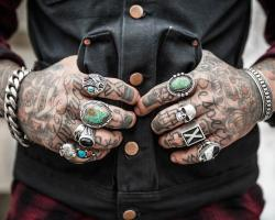 Tattooed hands of a man, rebel, bad boy