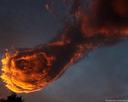 Fireball-shaped cloud