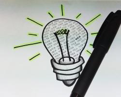 Lightbulb with the word IDEA written inside it