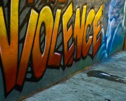 "Graffiti spelling out the word ""Violence"""