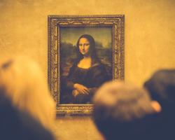 The Mona Lisa on display at the Louvre in Paris