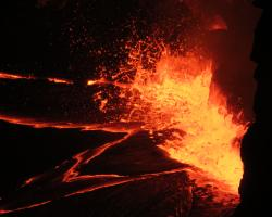 Typical lava lake activity at Kīlauea's summit, slowly rising lake level