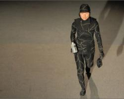 The mushroom death suit worn by a model