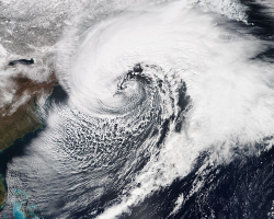 A comma-shaped nor'easter storm from March 2014