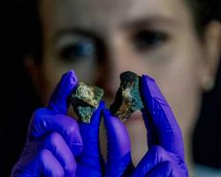 Two meteorites held in gloved hands