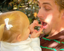 Toddler with father
