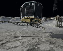Depiction of Rosetta's Philae lander touching down on Comet 67P
