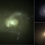 Composite image of blue, green, and red galaxies.