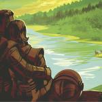 Astronauts visiting a lake
